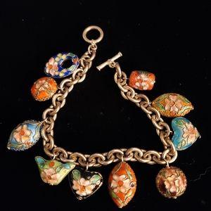 Vintage silver cloisonne charm bracelet